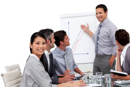 Portrait of a multi-ethnic business team having a meeting Stock Photo - 10115080