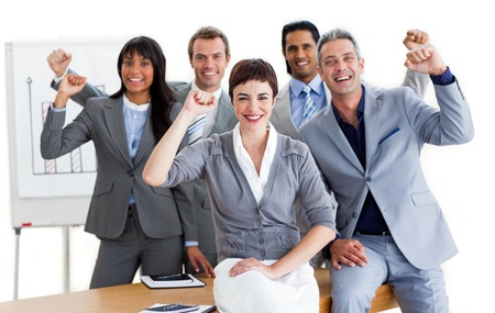 A diverse business group punching the air Stock Photo - 10114877