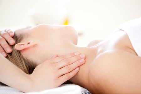 hands massage: Close-up of a caucasian woman receiving a head massage  Stock Photo