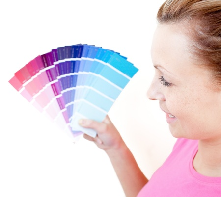 Delighted woman choising colours