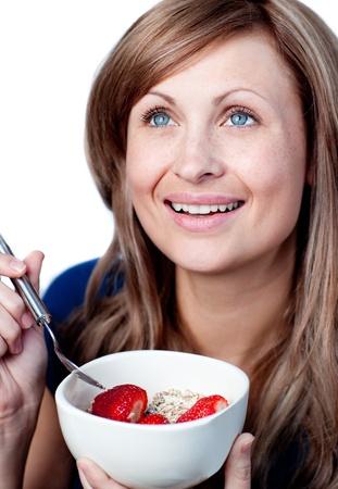 mirthful: Beautiful woman having a healthy breakfast