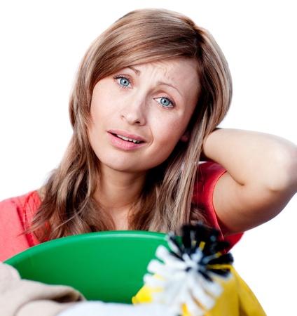 Caucasian woman doing housework photo