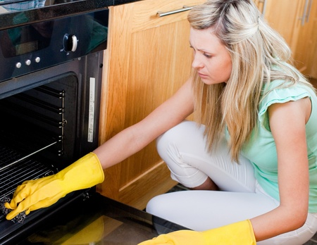 Portrait of a beautiful housewife cleaning  photo