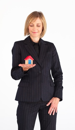 Mature woman working as a real state agent photo