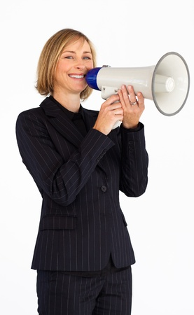 Mature businesswoman with a megaphone  photo