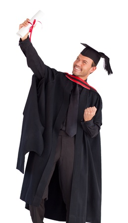 Happy attractive boy celebrating with success his graduation photo
