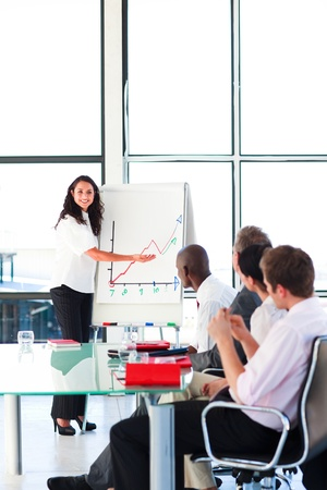 presentation board: Businessswoman reporting to sales figures in a meeting