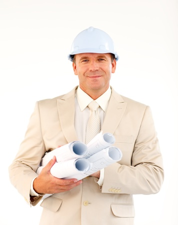 Friendly engineer with blueprints  Stock Photo - 10113146