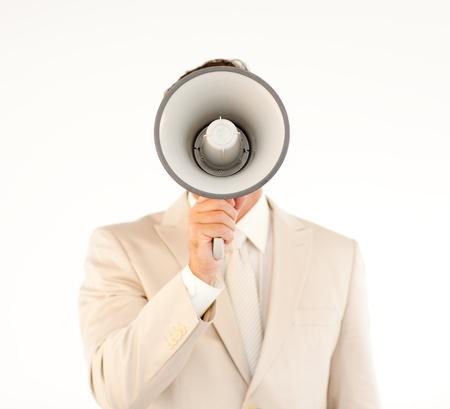 businessman using a megaphone: Caucasian businessman using a megaphone  Stock Photo