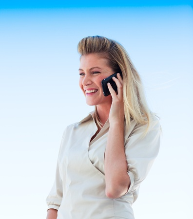Beautiful girl speaking on phone Stock Photo - 10113885