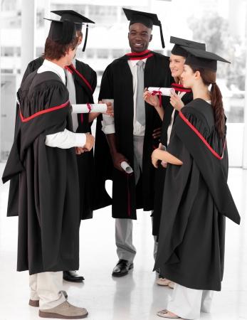 university life: Group of people celebrating their Graduation Stock Photo