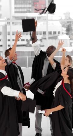 black graduate: Group of people celebrating their Graduation Stock Photo