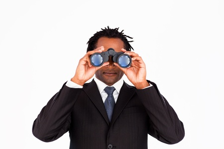 Businessman looking through binoculars Stock Photo - 10114220