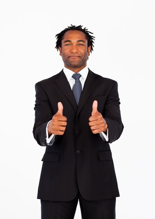 Portrait of afro-american businessman with thumbs up photo