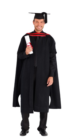 Charming graduate boy with his diploma  photo