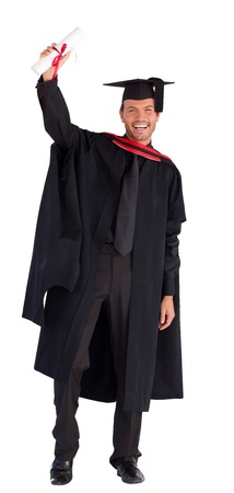 black graduate: Smiling handsome boy showing his diploma to the camera