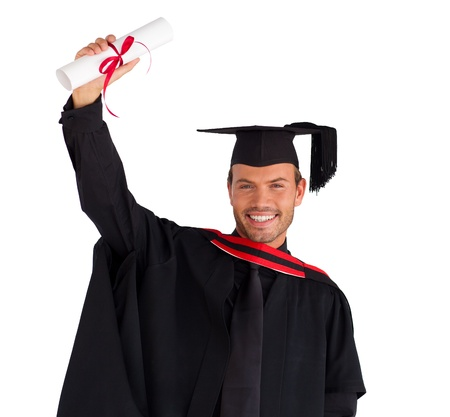 graduating: Happy attractive boy after his graduation