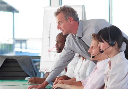 Business people working in a call centre Stock Photo - 10112935