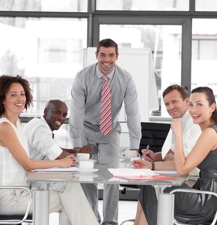 Businessman giving a presentation photo