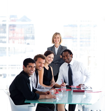 Business team working together in a meeting photo