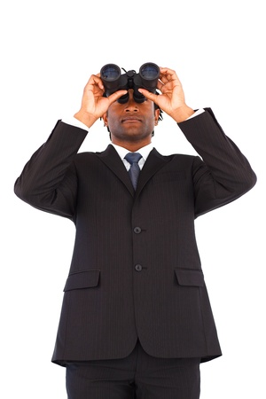 Attractive Afro-American businessman with binoculars photo