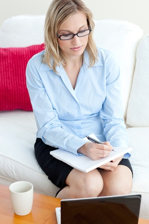 Concentrated businesswoman taking notes Stock Photo - 10131153