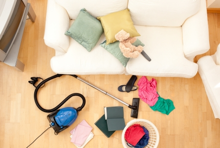High angel of a chaotic living room Stock Photo - 10129677