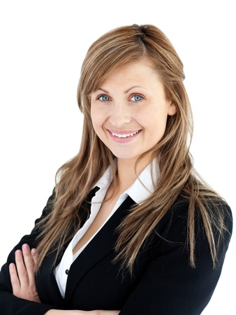 assertive: Confident young businesswoman looking at the camera against a white background Stock Photo