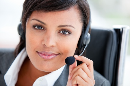 Portrait of a radiant customer service agent at work photo