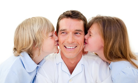 fond of children: Attractive smiling father with his child  Stock Photo