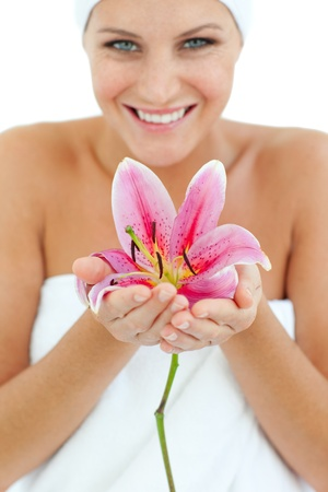 Bright woman holding a flower  photo