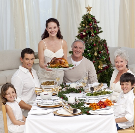 Family celebrating Christmas dinner with turkey Stock Photo - 10131408