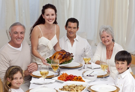 Family eating turkey in a dinner Stock Photo - 10134421