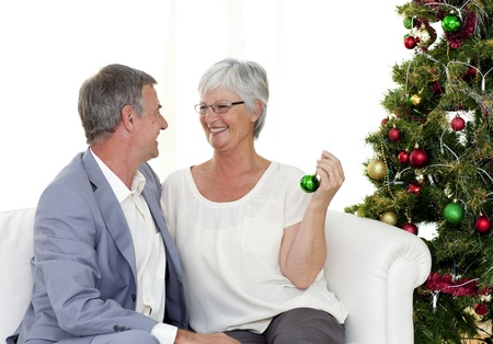 Mature couple sitting on sofa with a Christmas tree Stock Photo - 10134745