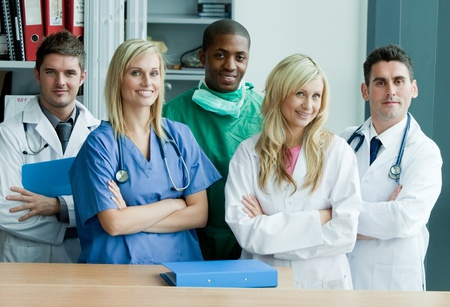 medical students: Portrait if an international medical team Stock Photo