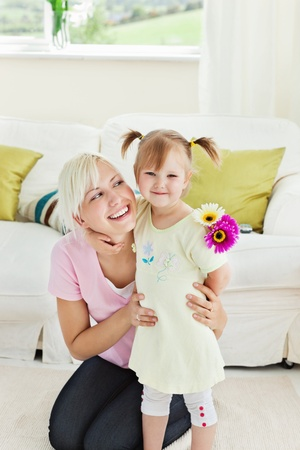suddenness: Blond woman get surprise by her daughter