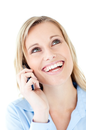 Laughing woman calling photo