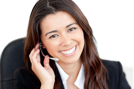 Portrait of a charismatic asian businesswoman with headphones photo