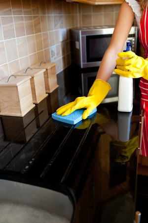 clean kitchen: Young caucasian woman cleaning the oven