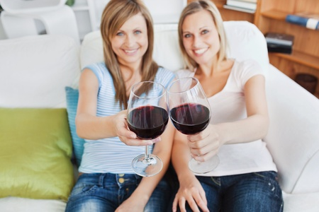Two cute women holding a wineglass on a sofa photo