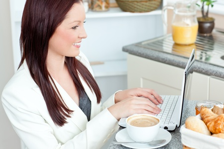 Positive businesswoman using her laptop during breakfast Stock Photo - 10134330