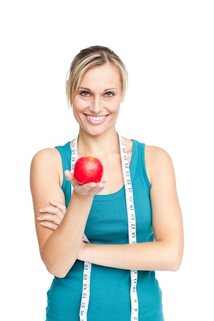 Beautiful woman with an apple photo