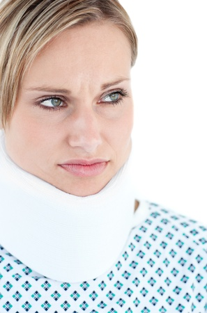feeble: Worried female patient against a white background
