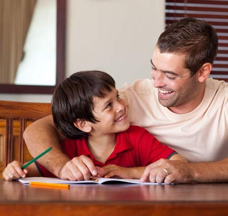 Cute boy looking at his father Stock Photo - 10162717