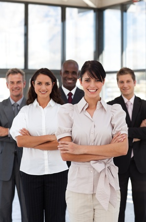 Portrait of smiling business people looking at the camera  Stock Photo - 10163453