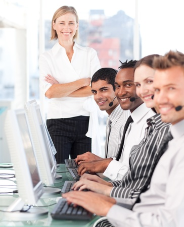 Beautiful manager leading her representative team Stock Photo - 10135818
