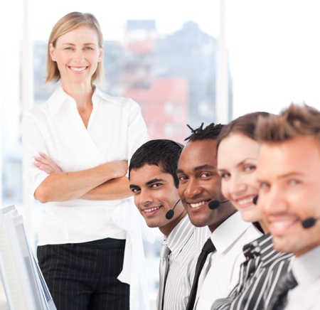 Happy manager leading her representative team Stock Photo - 10135021
