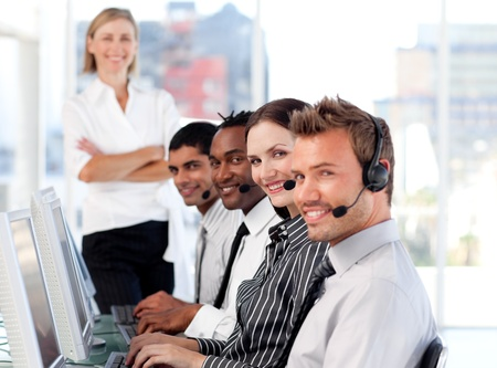 Cute manager leading her representative team  Stock Photo - 10136358