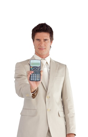 Young Businessman Holding a calculator in his hands  photo