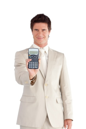 Smiling Businessman Holding a calculator in his hands  photo